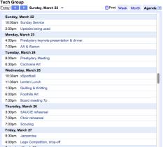 Calendar, Agenda:Daily