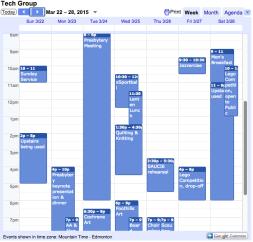 Calendar, weekly