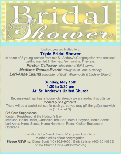 Bridal Shower, May 15, 2016